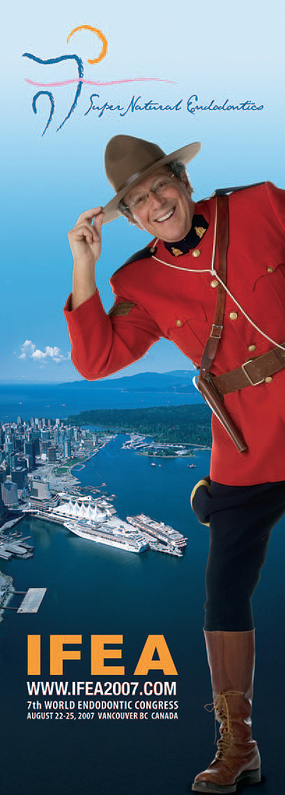 In a print ad published in the August 2007 issue of Endo Tribune, Dr. Fred Weinstein dressed as a Royal Canadian 'Mountie' to promote the IFEA meeting, held that year in Vancouver, British Columbia.