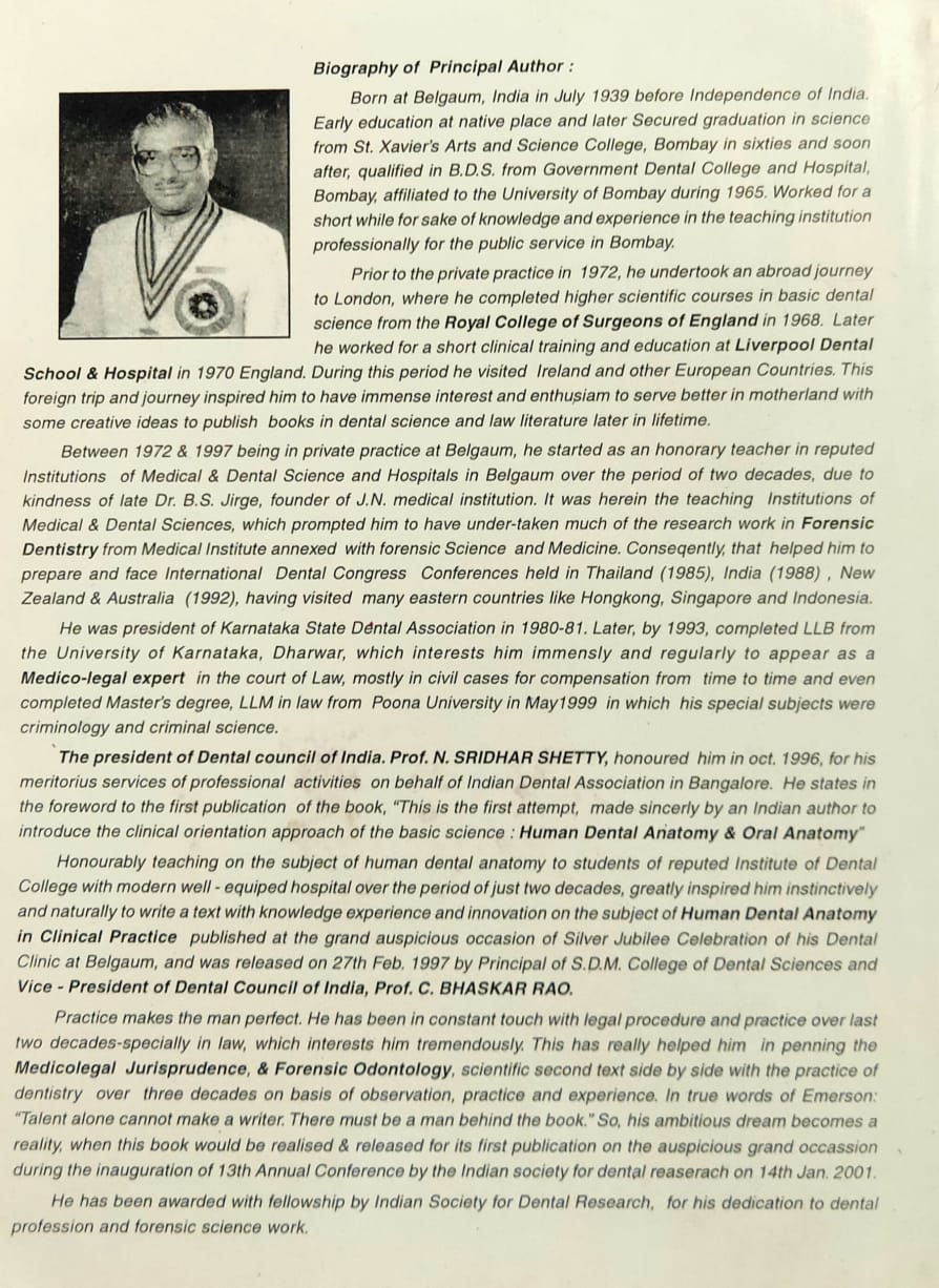 A Tribute To Dr B S Bagi A Pioneer In Forensic Odontology Medicolegal Research In India